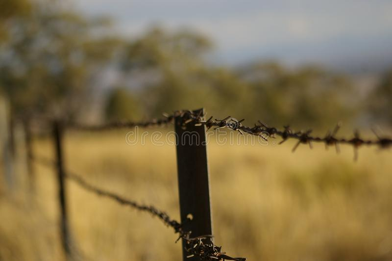 Stretch of rusty barbed wire fence. Going into the distance along a border of local dry, drought stricken farmland in rural New South Wales, Australia royalty free stock image
