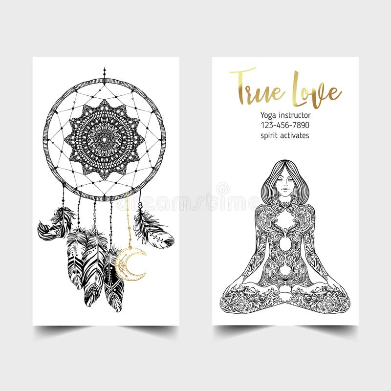 Stretch and Strength. Yoga card design template. Black and white vector illustration