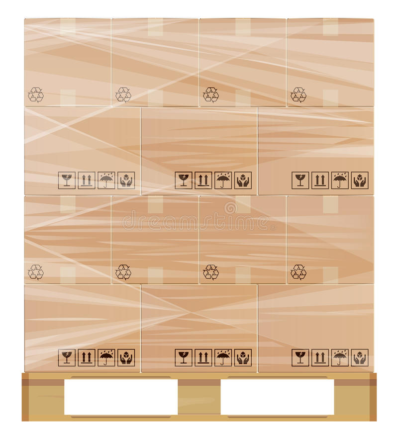 Stretch wrap pallet. Pallet wrapped with plastic protection. Illustration contains a transparency. This in a separate layer from the rest of the artwork and can stock illustration