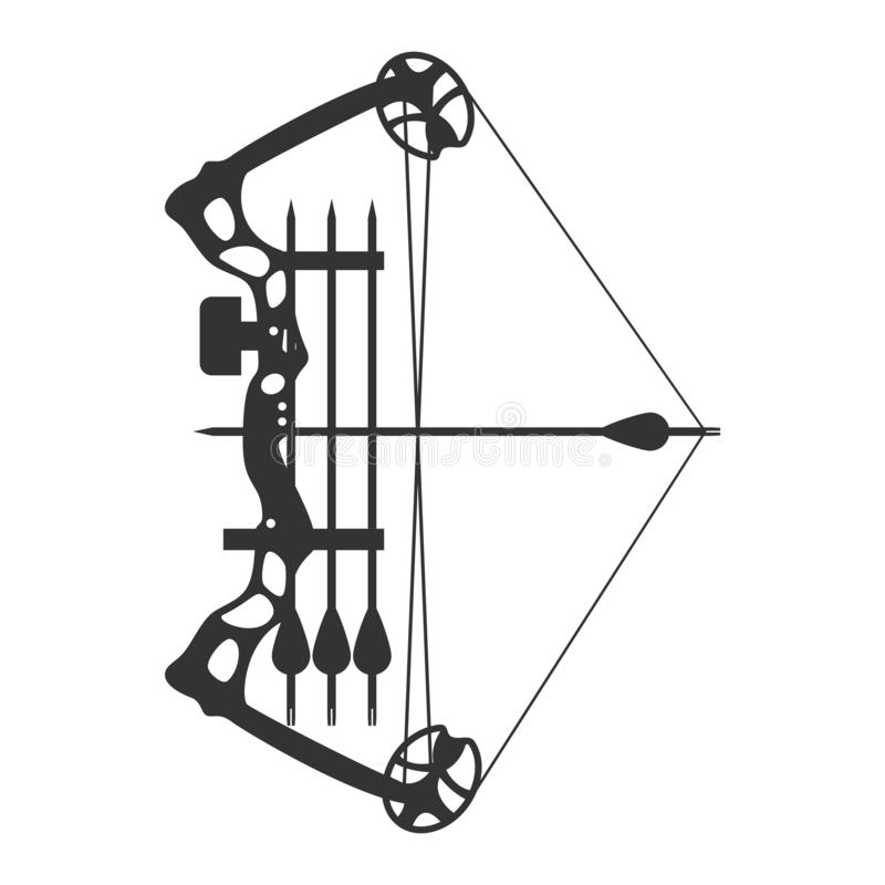 Stretched Compound bow. Modern hunting compound bow and arrow. Vector illustration royalty free illustration