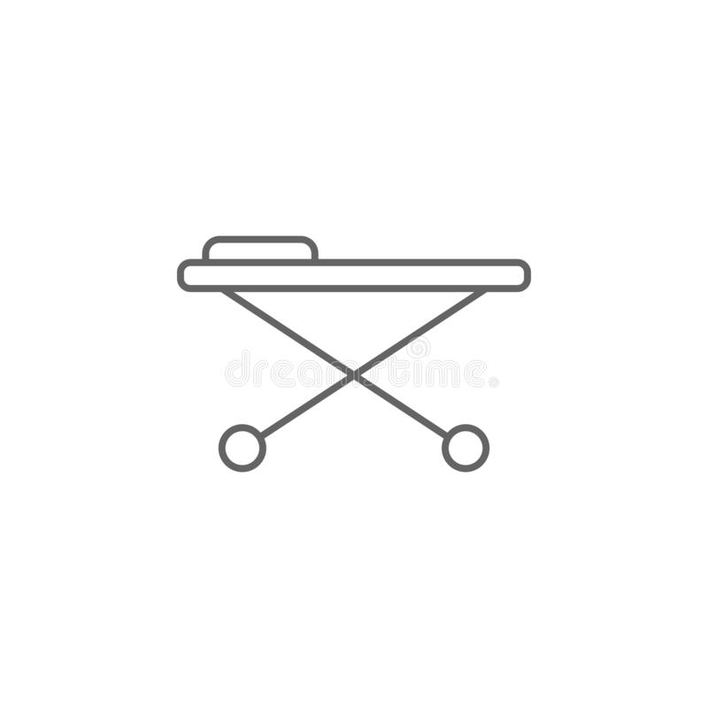 Stretcher, icona dell'ospedale Icona elemento della medicina Icona linea sottile illustrazione vettoriale