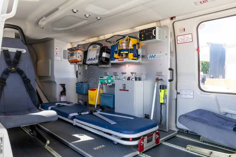 Stretcher and medical equipment in a Emergency medical services helicopter royalty free stock image