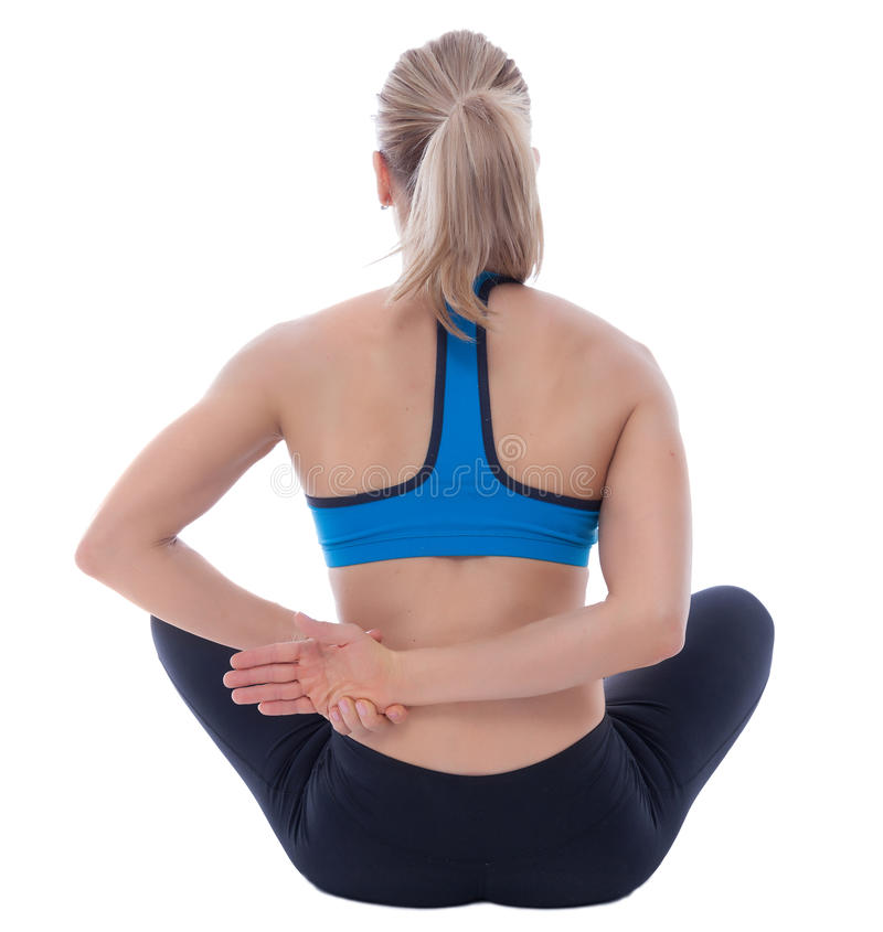 Stretching of anterior and medium deltoid royalty free stock image