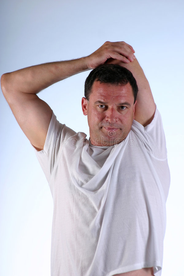 Stretching arm stock image