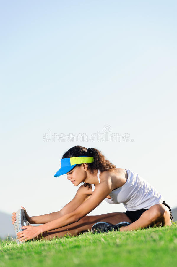 Stretching athlete royalty free stock photos