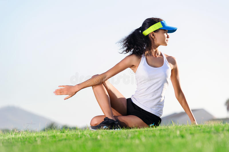 Stretching athlete stock photo