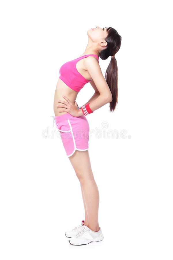 Stretching athlete warming up before sport stock photo