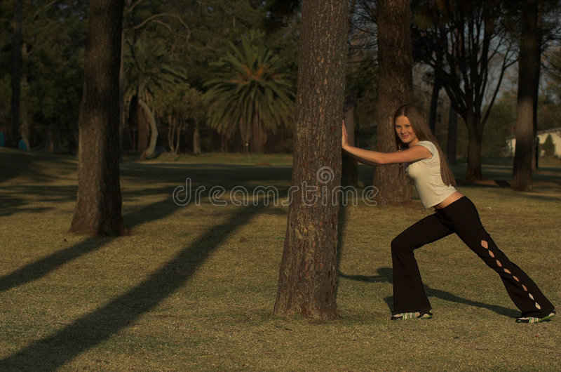 Stretching before exercise stock photography
