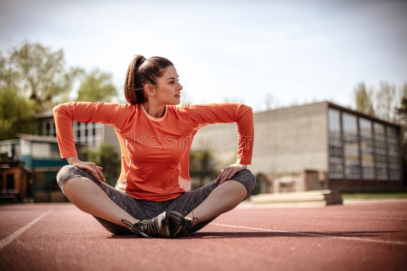 Stretching is important after every workout. royalty free stock images