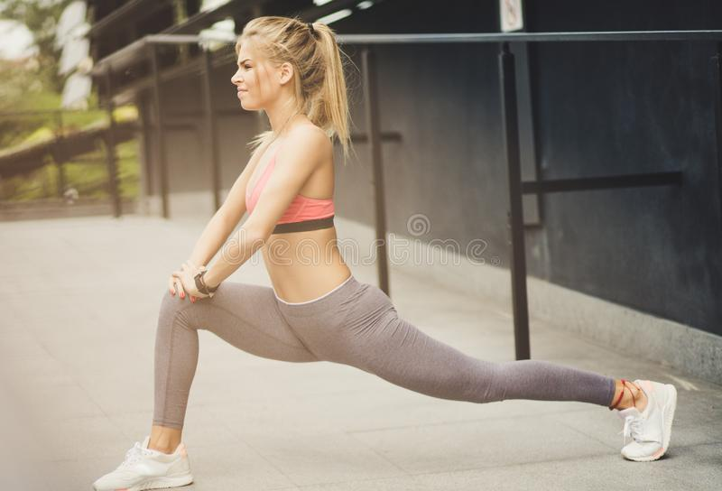 Stretching is important royalty free stock photos