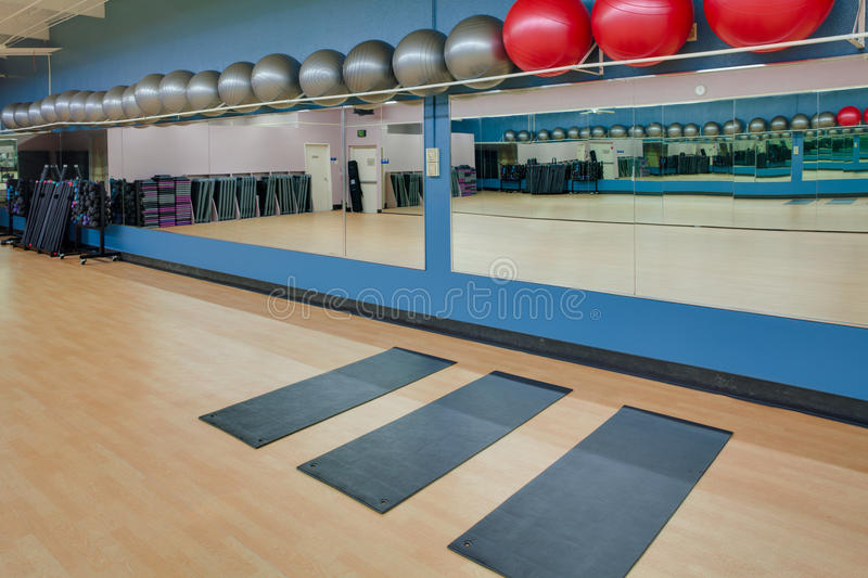 Download Stretching Mats And Exercise Balls In Gym Stock Image - Image: 23923657