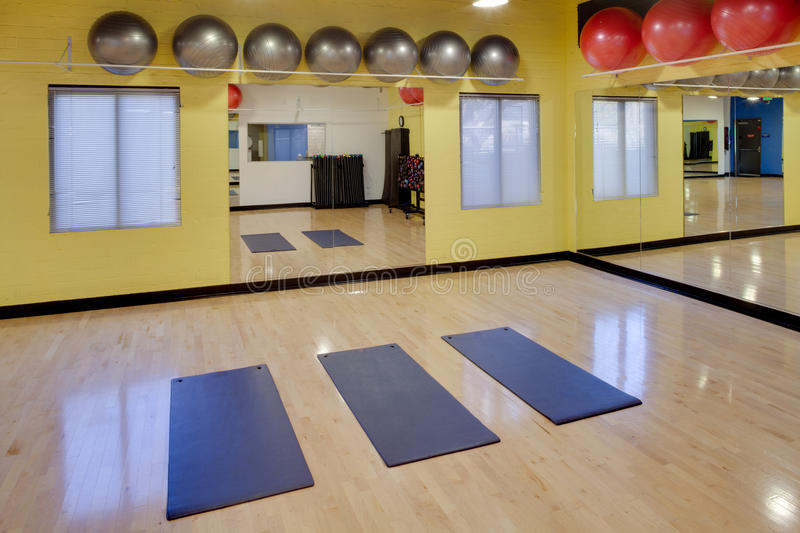 Download Stretching Mats And Exercise Balls In Gym Stock Photo - Image: 23936284