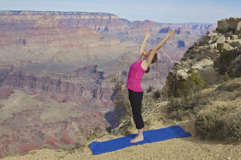 Stretching Yoga At Grand Canyon Stock Photos