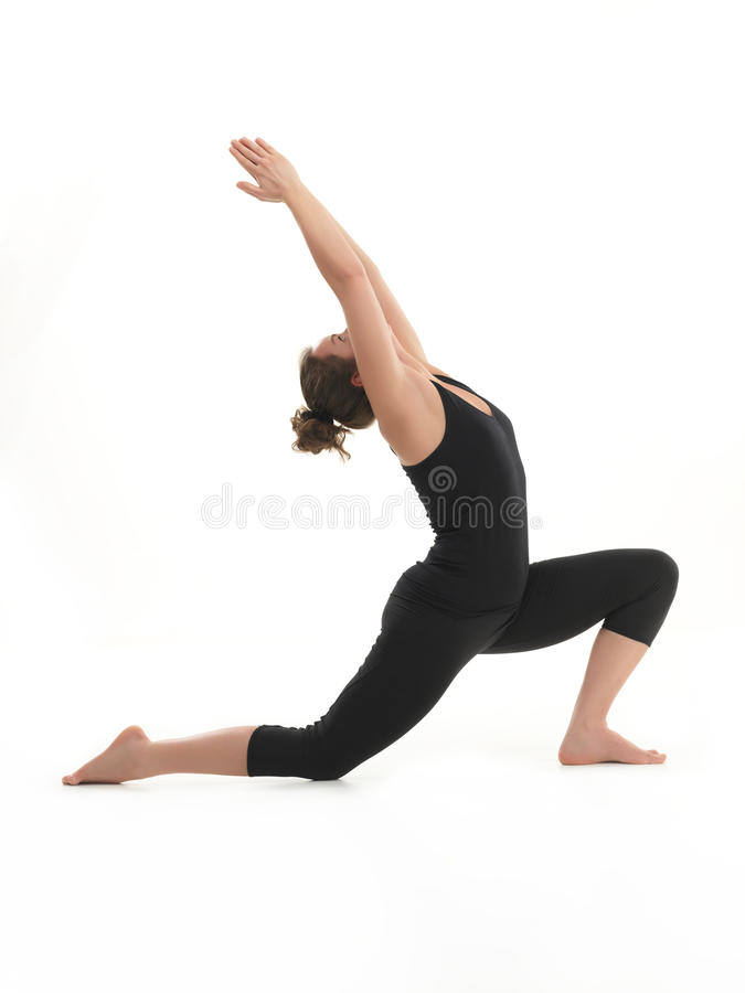Stretching yoga pose demonstration stock images