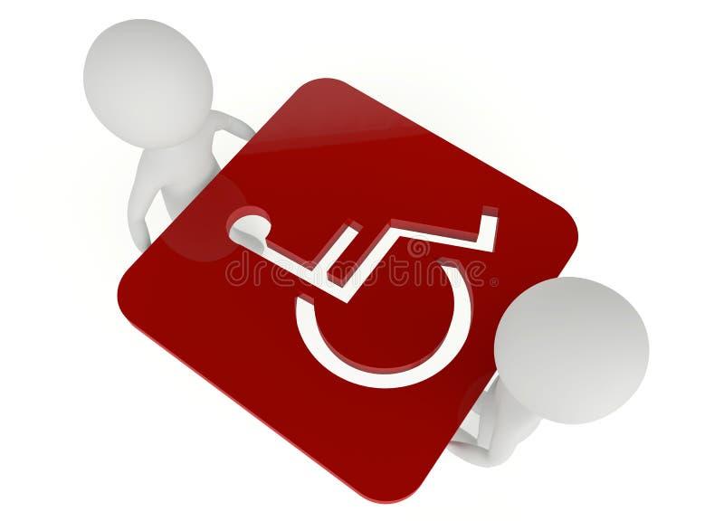 stretta del carattere del humanoid 3d un simbolo andicappato illustrazione vettoriale