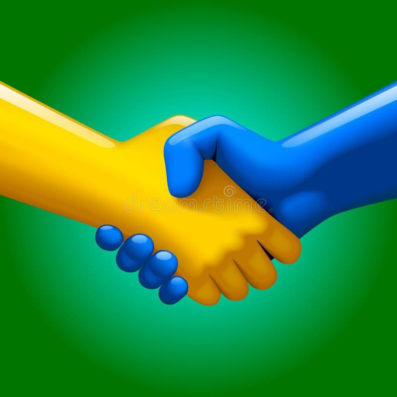 Stretta di mano blu e gialla illustrazione di stock
