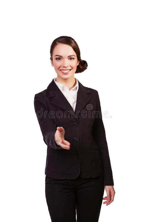 Stretta di mano d'offerta sorridente della bella donna di affari fotografie stock libere da diritti