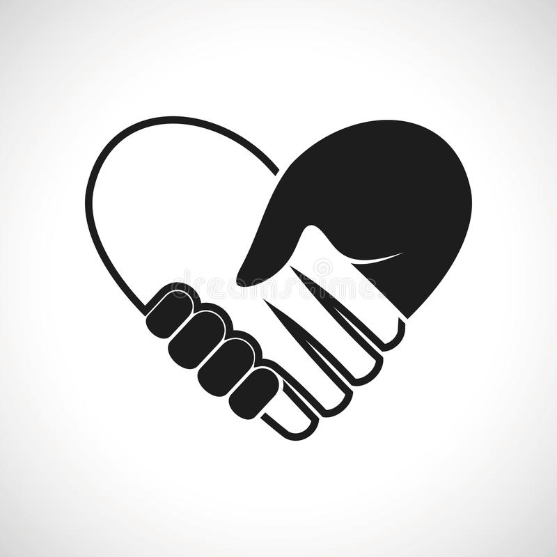 Stretta di mano del cuore di vettore dell'icona dell'illustrazione royalty illustrazione gratis