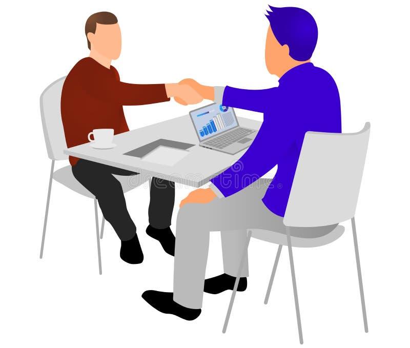 Handshake delle persone di affari dopo il negoziato o l'intervista all'ufficio Concetto produttivo di associazione Affare costrut royalty illustrazione gratis