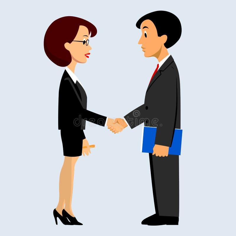 Stretta di mano dell'uomo e della donna di affari nello stile piano royalty illustrazione gratis