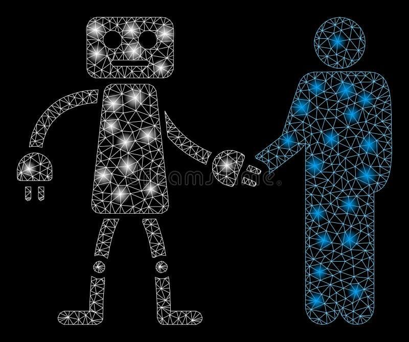 Stretta di mano luminosa di Mesh Wire Frame Robot Human con i punti istantanei illustrazione di stock