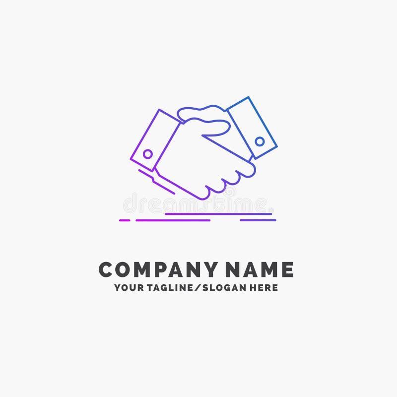 stretta di mano, scossa della mano, stringente mano, accordo, affare porpora Logo Template di affari Posto per il Tagline fotografia stock