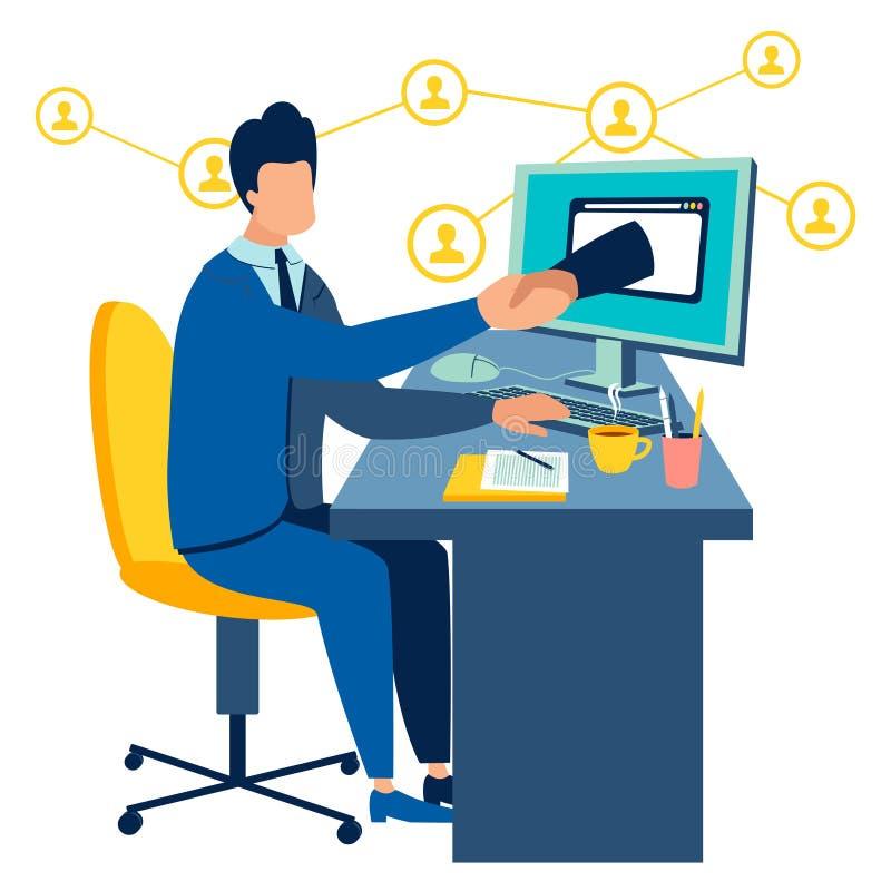 Stretta di mano via l'illustrazione di vettore del monitor del computer pianamente illustrazione di stock
