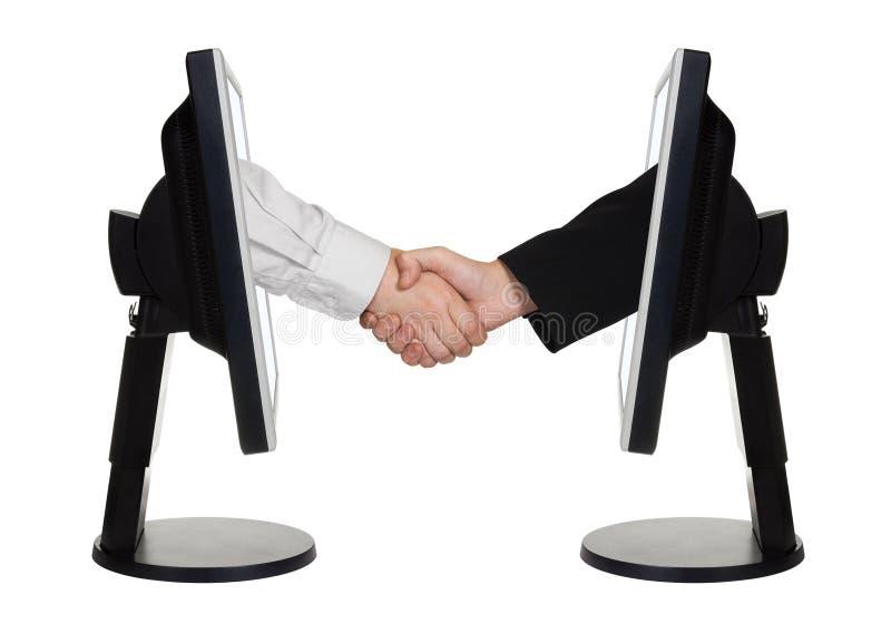 Stretta di mano virtuale - concetto di affari del Internet immagine stock