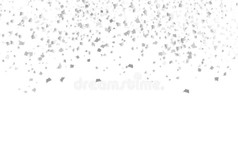 Streuung von silbernen Konfettis, fallender Belohnungspapierglückwunsch stock abbildung