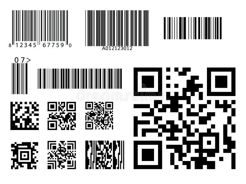 Strichkode-Ikone qr Schlüsselsymbolvektor lizenzfreie abbildung