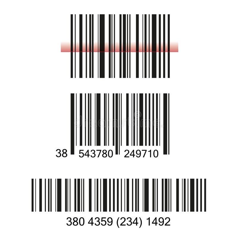 Strichkode-Satzvektorillustrationskonzept-Bildikone lizenzfreie abbildung