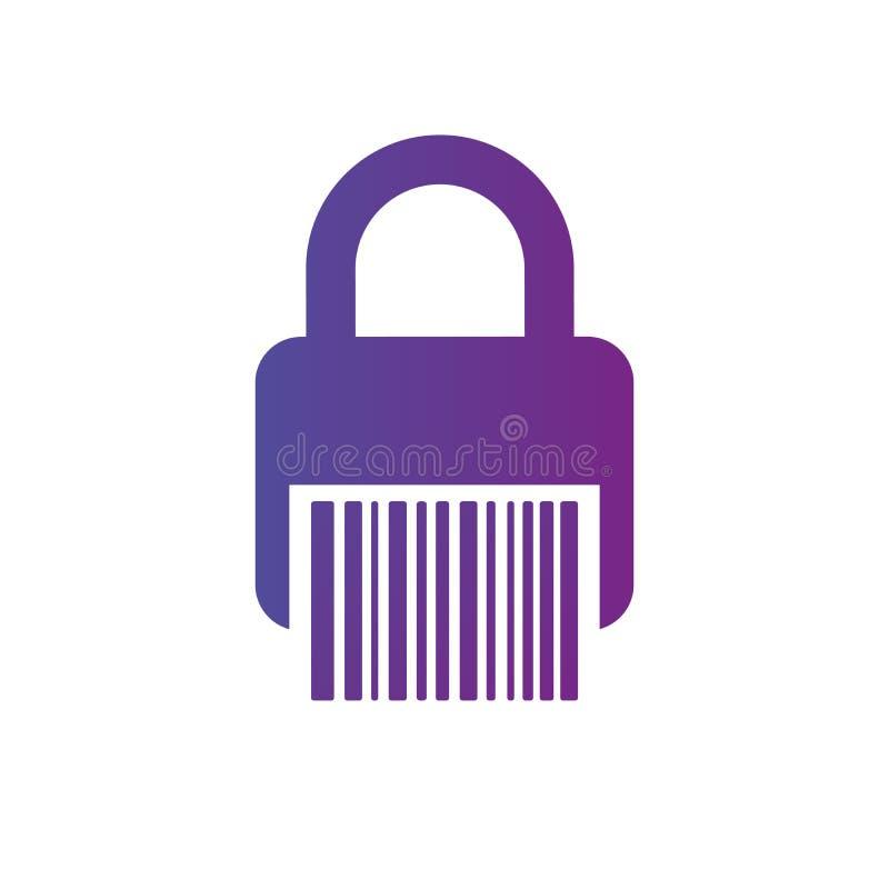 Strichkode-Verschlussikone safebox, Barcode, Netzcode für Aktivierung Vektorabbildung getrennt auf weißem Hintergrund stock abbildung
