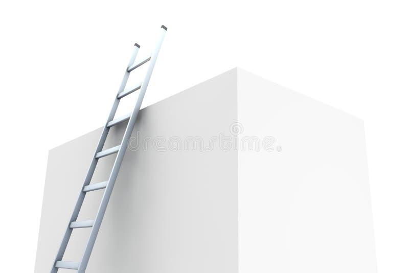 Strichleiter, die auf großem Block sich lehnt stock abbildung