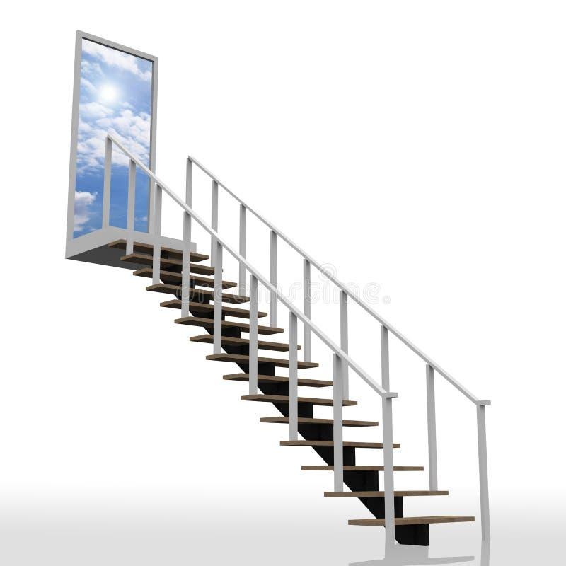 Strichleiter, die zum Himmel f5uhrt lizenzfreie abbildung