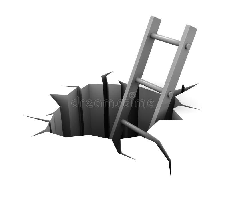 Strichleiter im Loch lizenzfreie abbildung