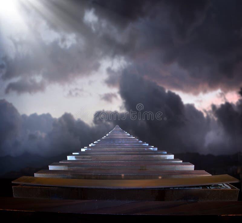 Strichleiter zum Himmel lizenzfreie stockfotos