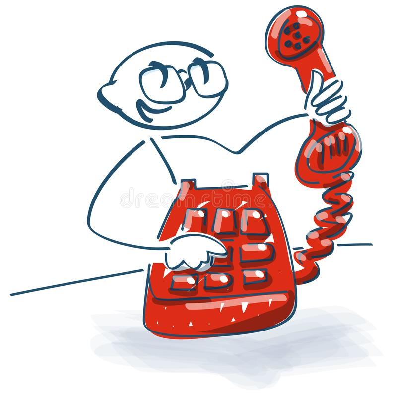 Stick figure with an old telephone with handset in hand royalty free illustration