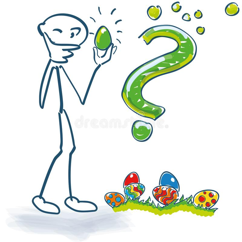 Stick figure examines Easter eggs with a thick question mark vector illustration