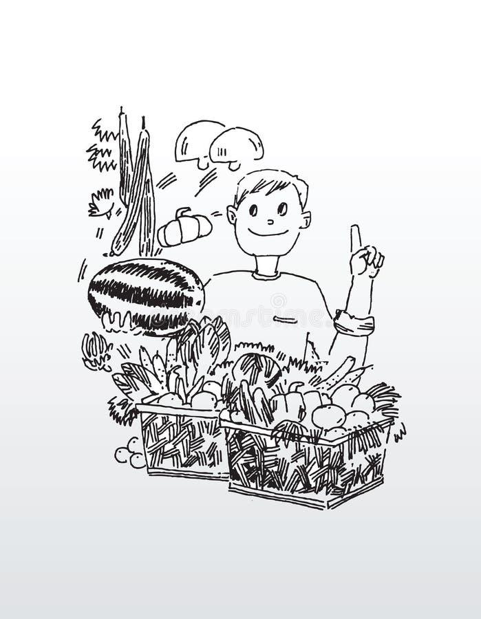Strichzeichnung des Mannes mit Frucht lizenzfreie abbildung