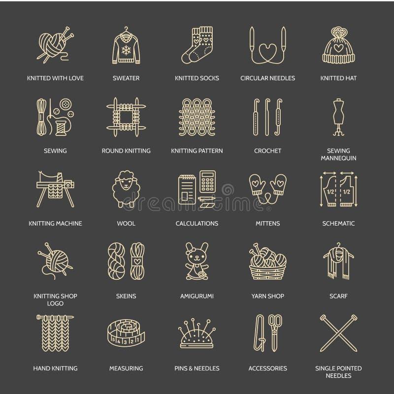 Stricken, Häkelarbeit, handgemachte Linie Ikonen eingestellt Stricknadel, Haken, Schal, Socken, Muster, Wollstränge und anderes D vektor abbildung