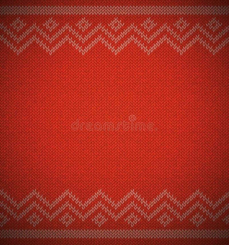Stricken Sie Weihnachtsgeometrischen Hintergrund mit leerem Raum für Text Realistisches Weihnachtsvektormuster Gestrickte Strickj lizenzfreie abbildung