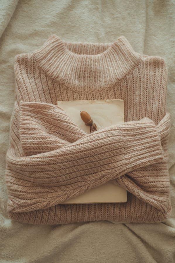 Strickjacke umarmt das Buch Auf der Buchdekoreichel Gelesen, stehen Sie gemütliches Herbst- oder Winterkonzept still lizenzfreie stockfotos