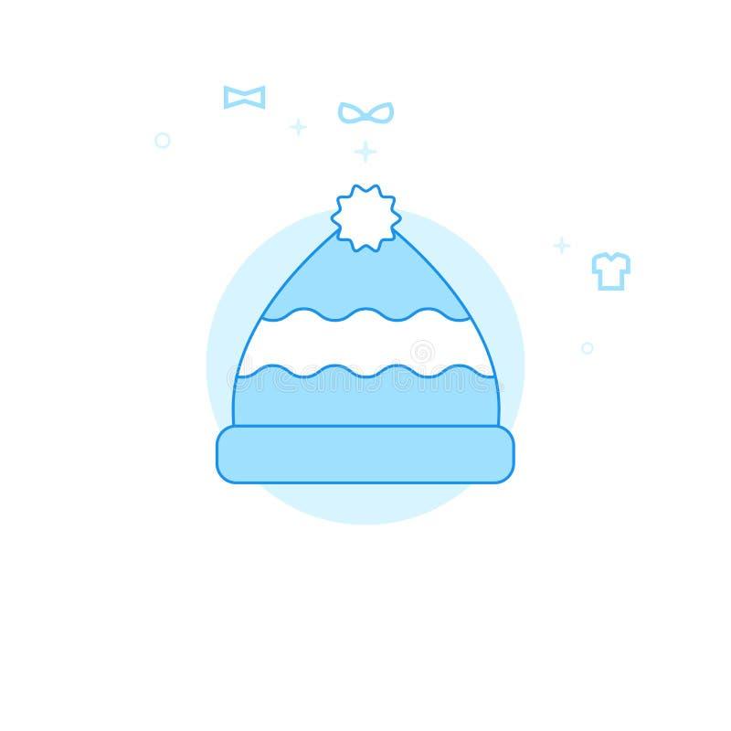Strickmütze mit Pom Pom Flat Vector Illustration, Ikone Hellblauer einfarbiger Entwurf Editable Anschlag vektor abbildung