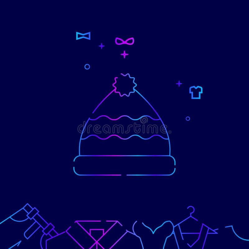 Strickm?tze mit Pom Pom Vector Line Icon, Illustration auf einem dunkelblauen Hintergrund In Verbindung stehende untere Grenze vektor abbildung