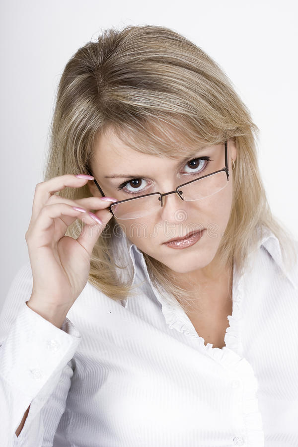 Download The Strict Blonde In Glasses Stock Photo - Image: 12039076