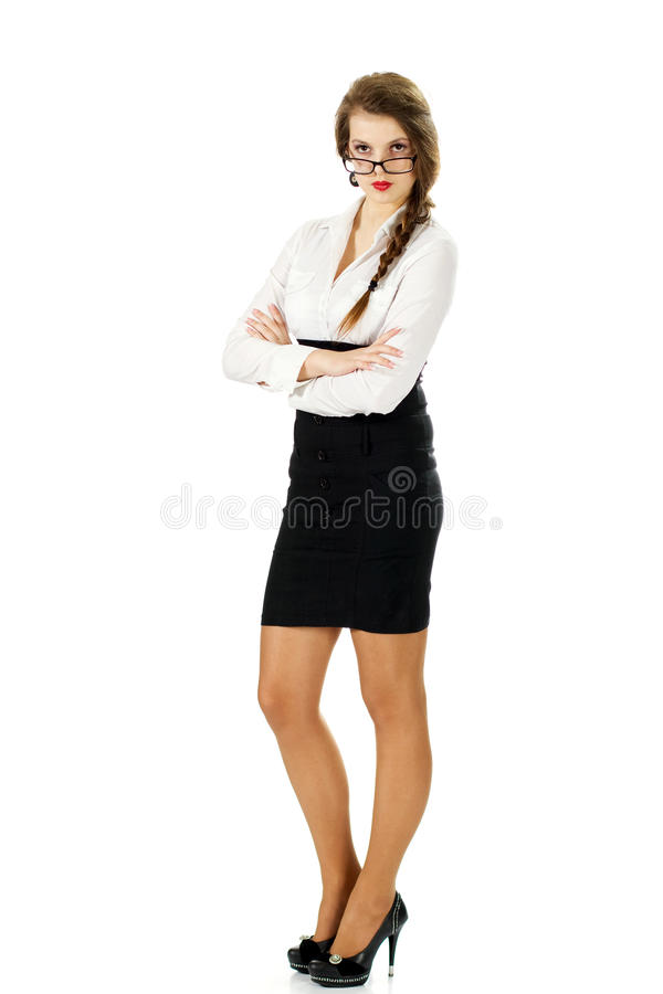 Strict business girl stock images