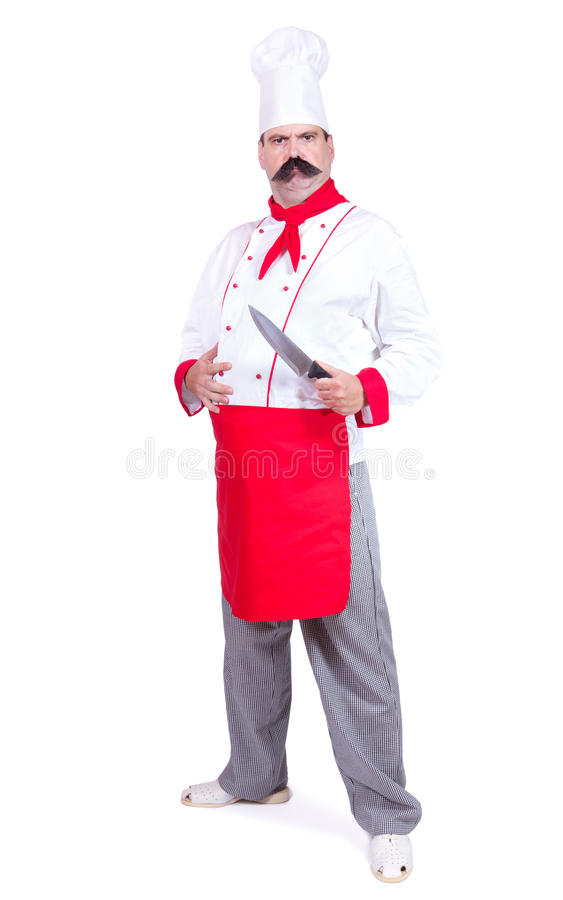 Strict chef standing with knief. Cloudy chef standing with knief, isolated on white background stock photography