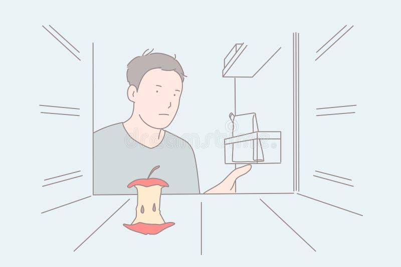 Strict diet, empty fridge, hunger feeling concept vector illustration