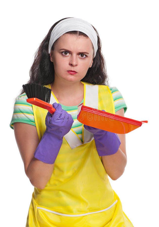Download Strict housewife stock photo. Image of girl, broom, household - 26840658