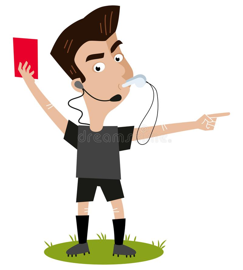 Strict looking cartoon football referee with headset blowing whistle, holding red card, sending-off gesture royalty free illustration